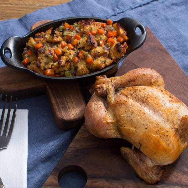 Roasted Cornish Game Hen with Rosemary Baguette Stuffing