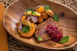 Spiced Salmon & Cranberry Chutney with Parsnip, Sweet Potato & Clementine Sauté