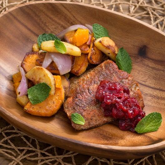 Spiced Salmon & Cranberry Chutney   with Parsnip, Sweet Potato & Clementine Sauté