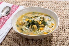 Spiced Pork, Squash & White Bean Soup with Lacinato Kale & Sage-Walnut Pesto