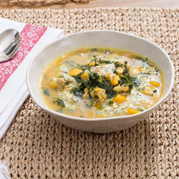 Spiced Pork, Squash & White Bean Soup with Lacinato Kale & Sage-Walnut Pesto