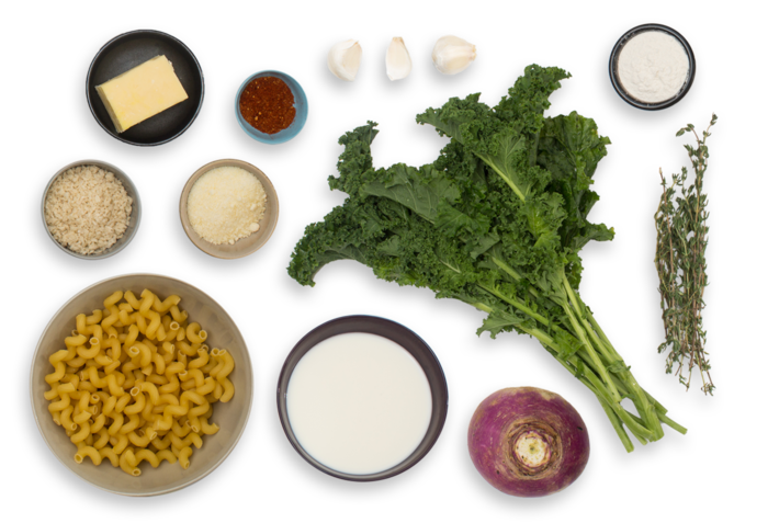 Cavatappi Mac & Cheese with Purple Top Turnip & Kale ingredients