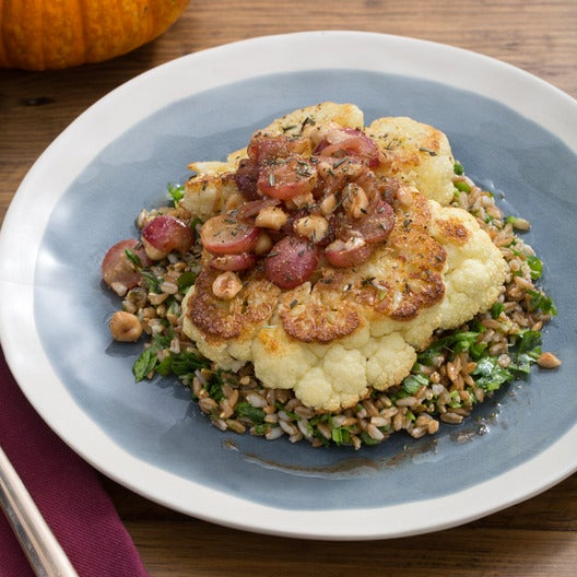 Roasted Cauliflower Steaks with Browned Butter-Grape Sauce & Farro