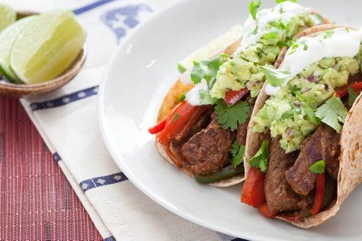 Top Round Steak Fajitas with Guacamole & Whole Wheat Tortillas
