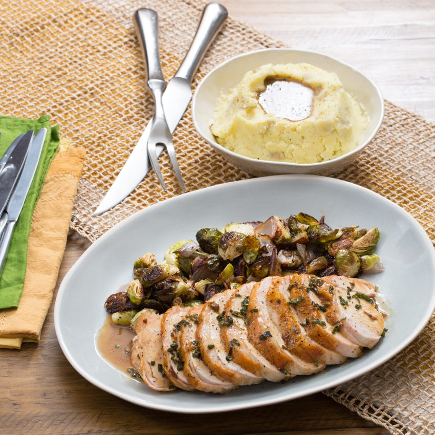 Roasted Turkey & Brussels Sprouts with Mashed Potatoes & Sage Gravy