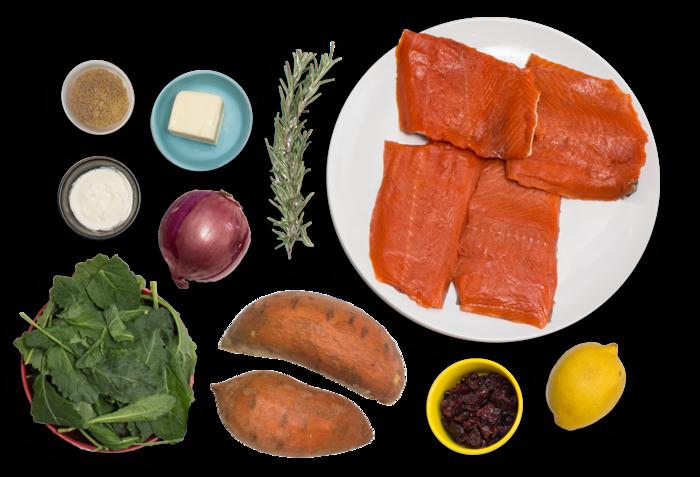 Seared Salmon & Sweet Potato Salad with Lemon Crème Fraîche
