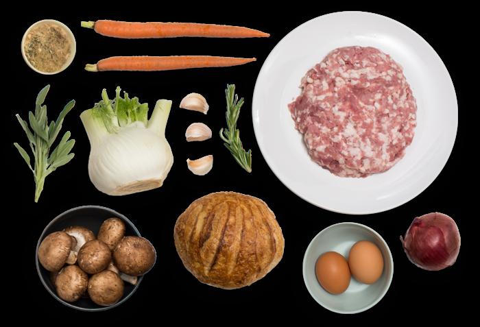 Pork & Mushroom Stuffing with Sourdough Bread & Fresh Herbs ingredients