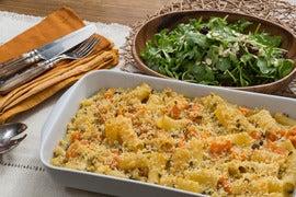 Baked Butternut Squash Mac & Cheese with Sage Breadcrumbs & Arugula Salad