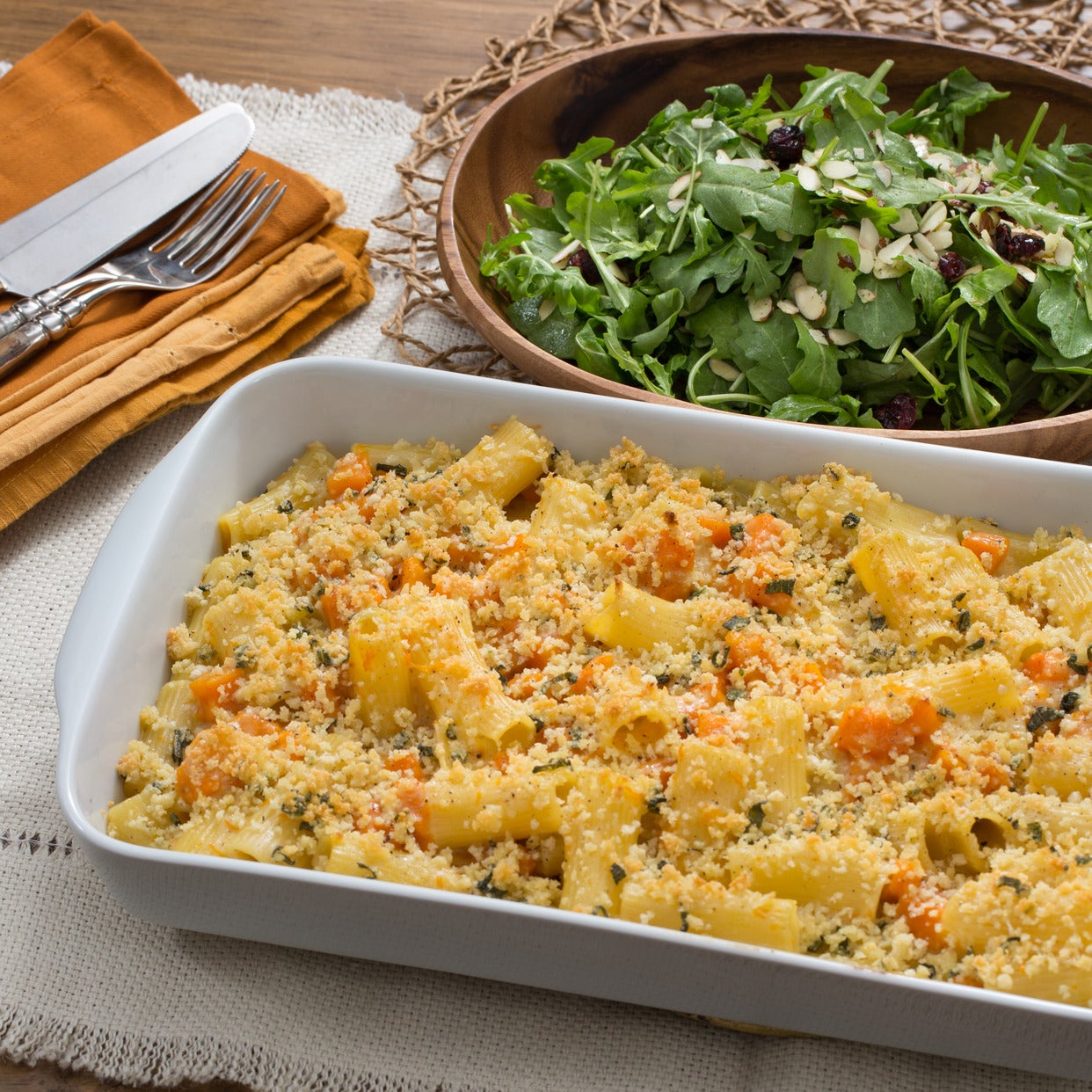 Baked Butternut Squash Mac & Cheese with Sage Breadcrumbs & Arugula Salad