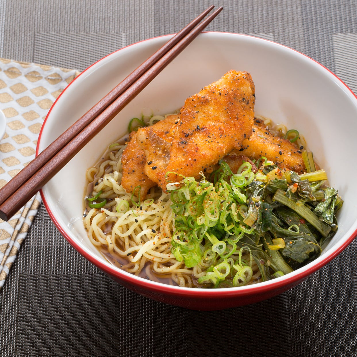 Crispy Catfish Shoyu Ramen with Yu Choy & Fresh Ramen Noodles