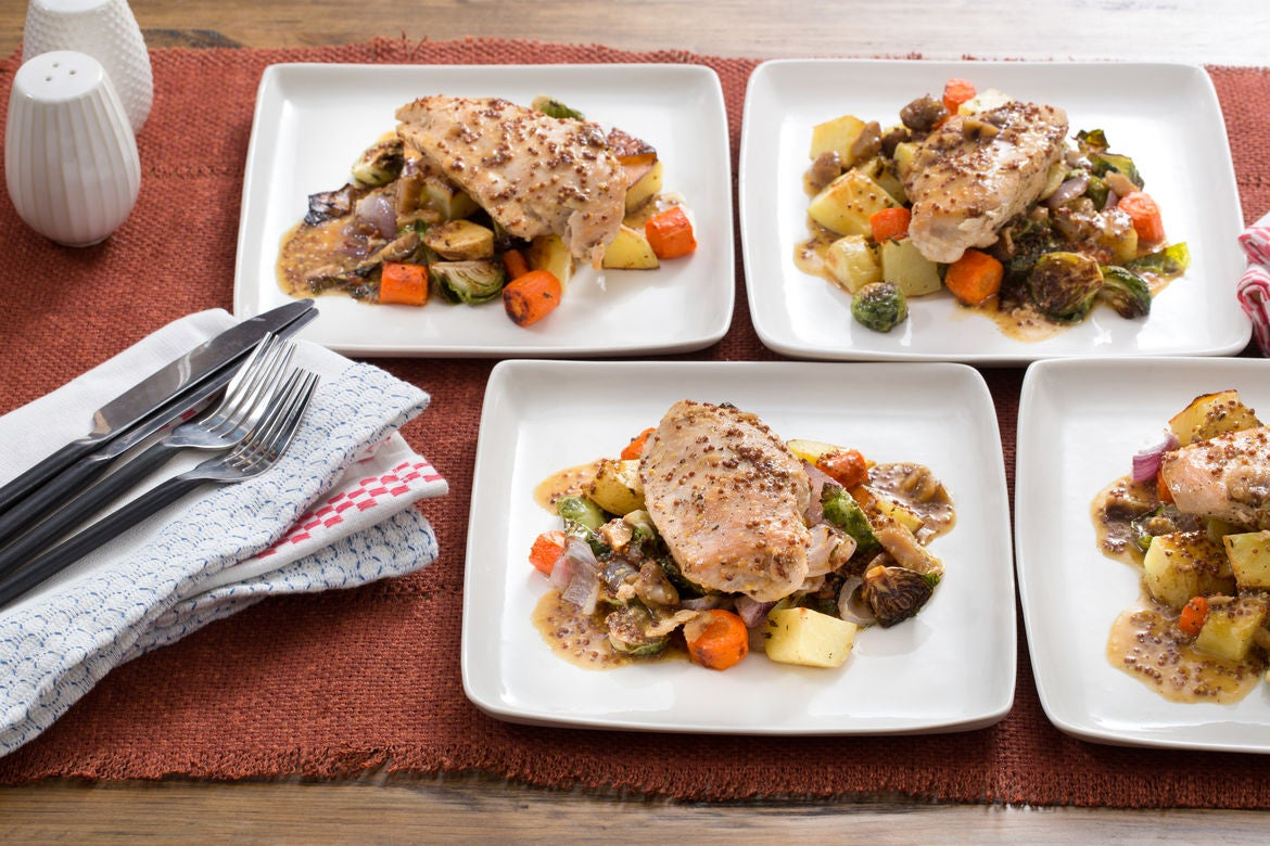 Apple Cider-Glazed Chicken with Roasted Brussels Sprouts, Potatoes & Carrots