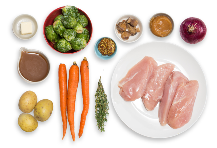 Apple Cider-Glazed Chicken with Roasted Brussels Sprouts, Potatoes & Carrots ingredients