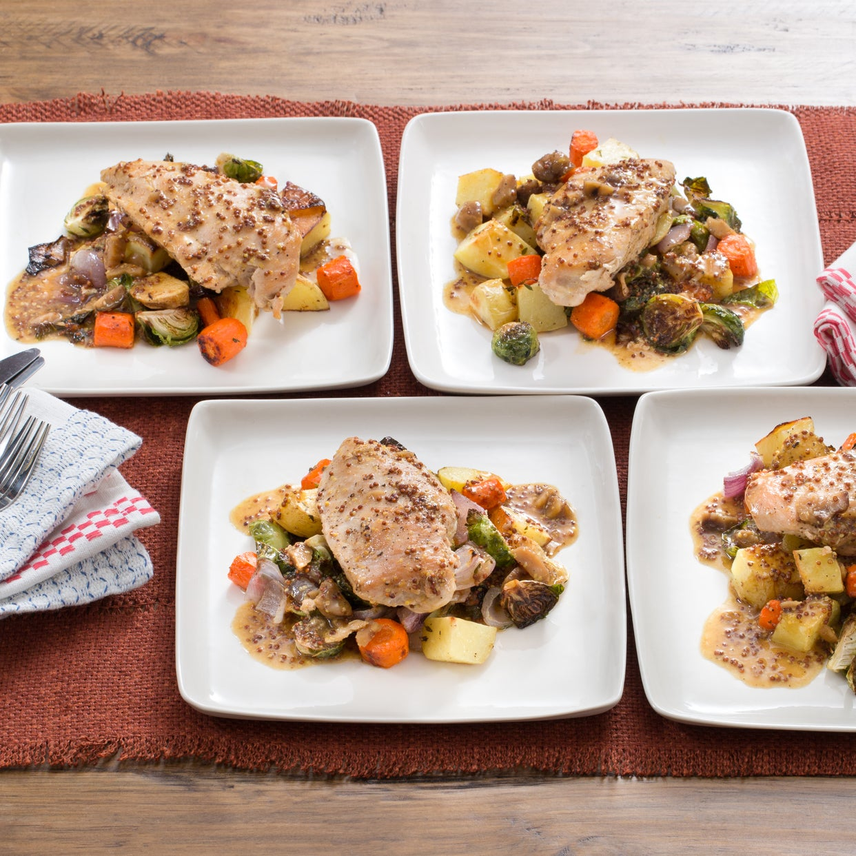 Skillet Chicken With Roasted Potatoes Carrots Recipe: Recipe: Apple Cider-Glazed Chicken With Roasted Brussels