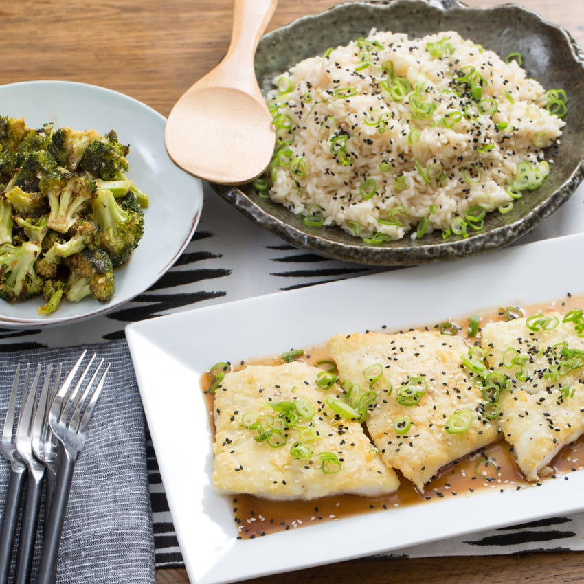 Seared Cod & Garlic-Ginger Rice with Ponzu-Glazed Broccoli