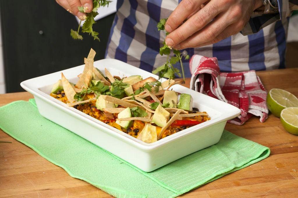 Finish the casserole: