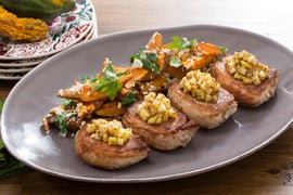 Pork Chops & Apple Mostarda with Roasted Sweet Potato, Toasted Walnut & Blue Cheese Salad