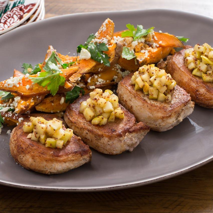 Pork Chops & Apple Mostarda with Roasted Sweet Potato, Toasted Walnut & Blue Cheese Salad
