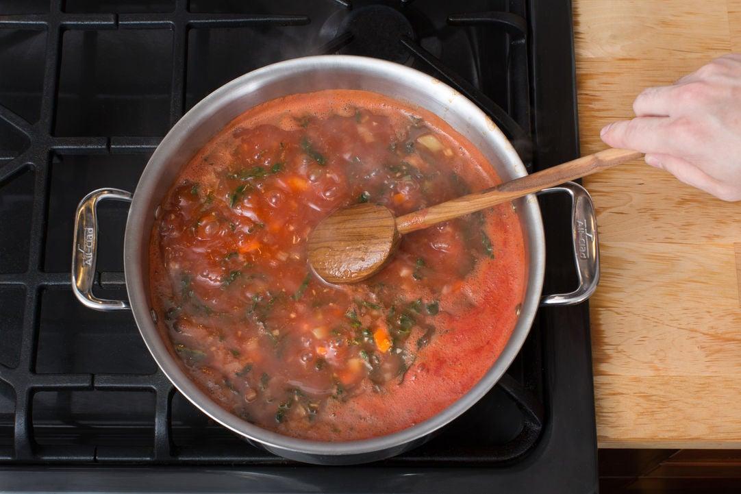 Add the beans & liquids: