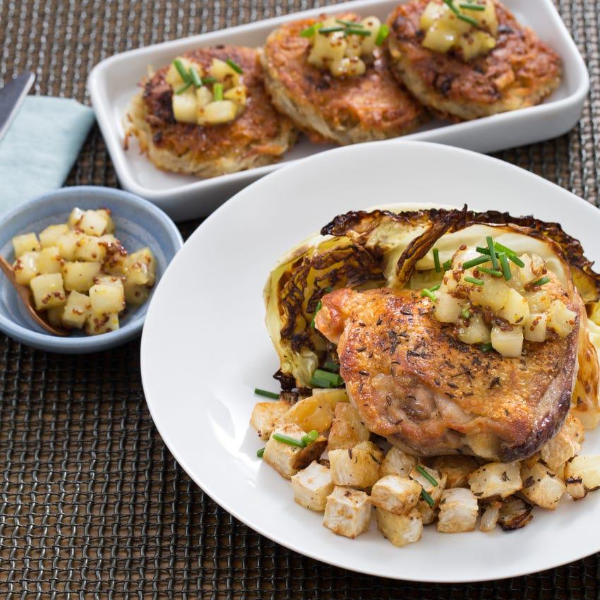 Roast Chicken & Potato Latkes with Savoy Cabbage & Apple-Mustard Chutney