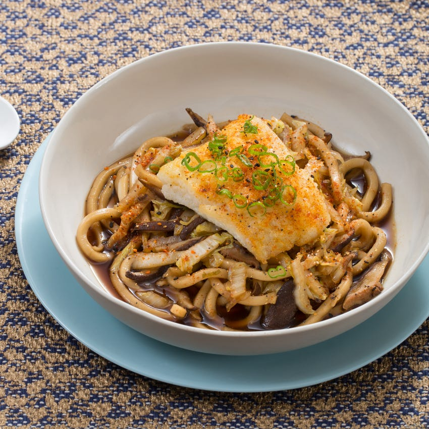 Seared Cod & Udon Noodles with Cabbage & Shiitake Mushroom Broth