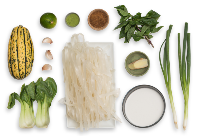 Rice Noodles & Coconut-Matcha Broth with Delicata Squash, Bok Choy & Thai Basil