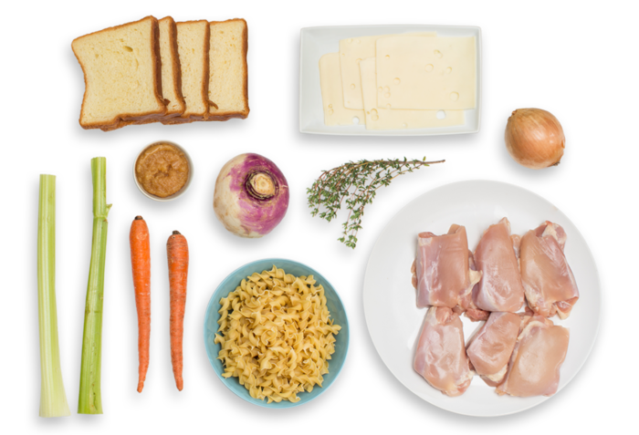 Chicken Noodle Soup with Grilled Cheese Sandwiches ingredients