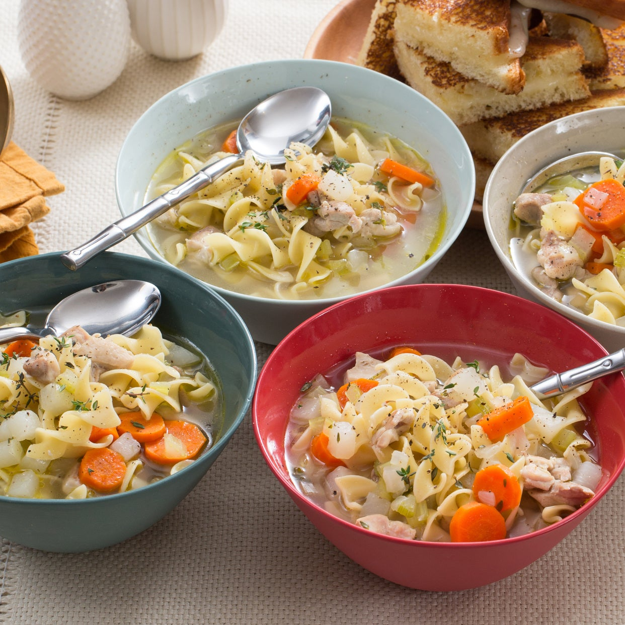 Recipe: Chicken Noodle Soup With Grilled Cheese Sandwiches