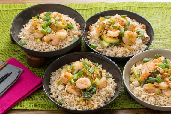 ... Orange Shrimp with Baby Bok Choy, Brown Rice & Cashews - Blue Apron