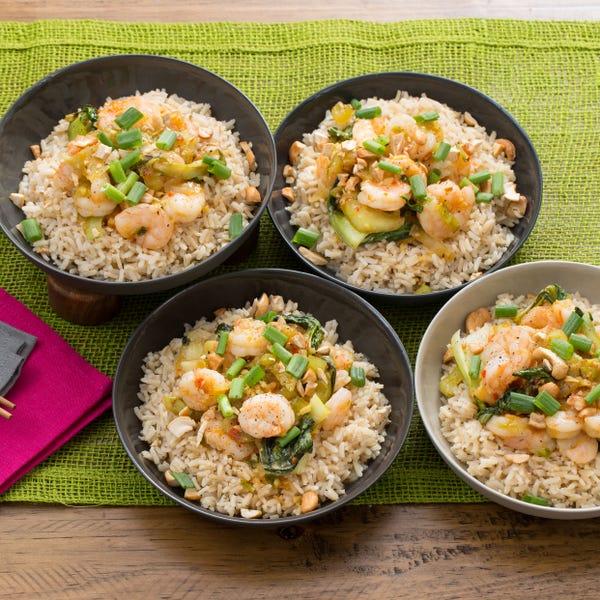 Stir-Fried Orange Shrimp with Baby Bok Choy, Brown Rice & Cashews