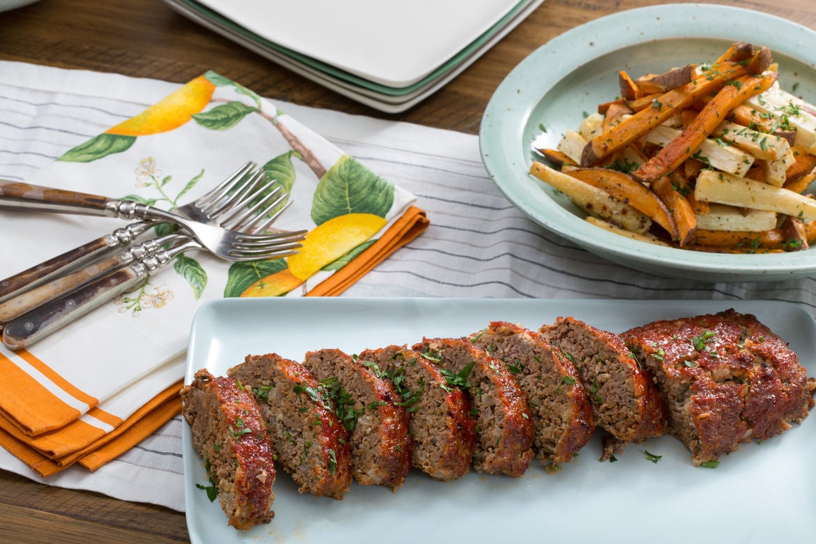 Meatloaf with Parsnip & Sweet Potato Oven Fries