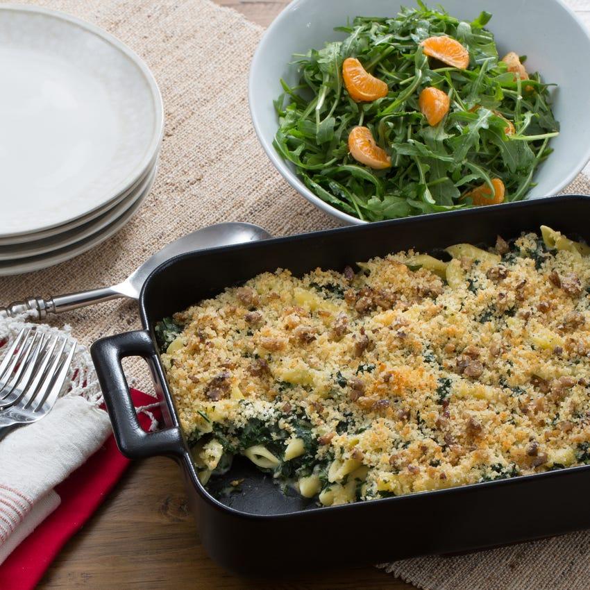 Baked Penne & Kale with Gruyere Béchamel & Arugula-Clementine Salad
