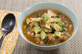 Chicken Tortilla Soup with Rainbow Chard, Avocado & Cilantro