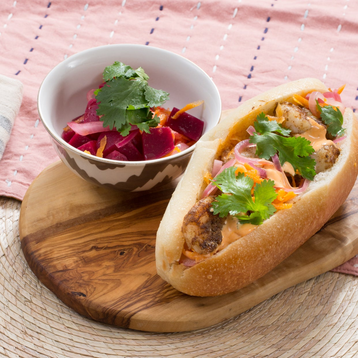 Shrimp Bánh Mì with Pickled Vegetables & Beet Salad