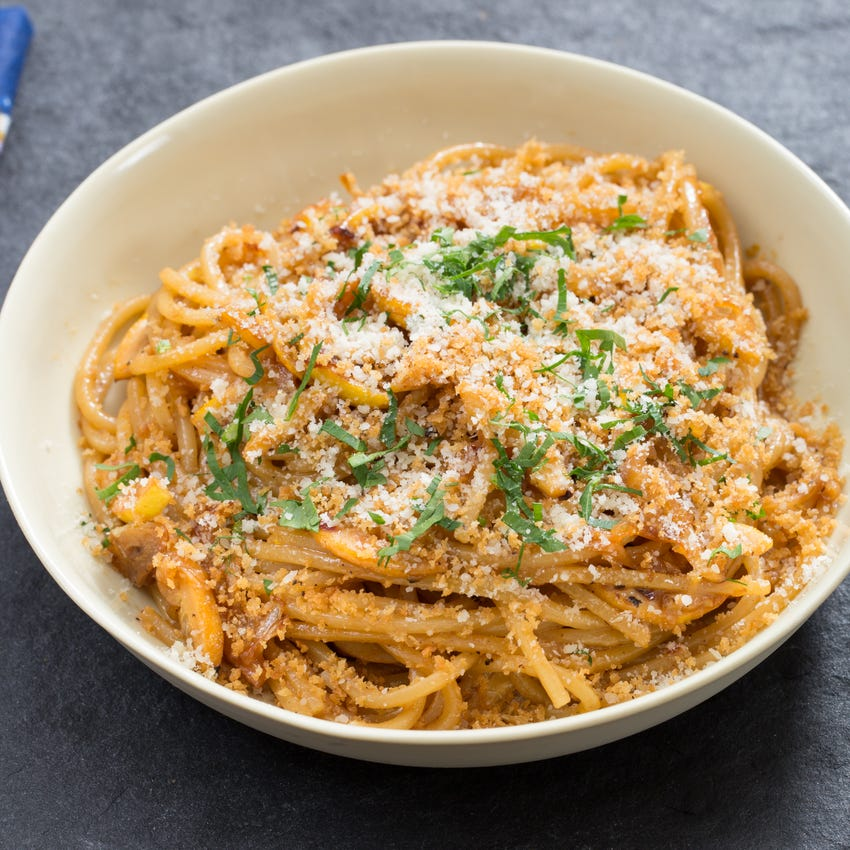 Caramelized Meyer Lemon Spaghetti with Toasted Garlic Breadcrumbs & Parmesan Cheese