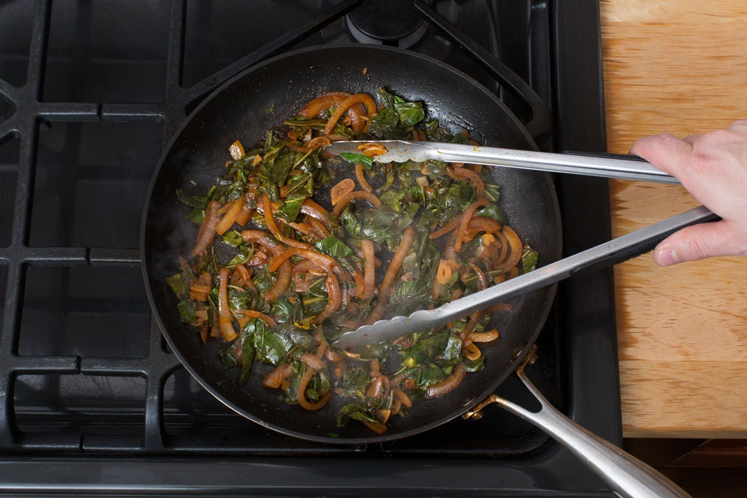 Cook the vegetables & finish the hash: