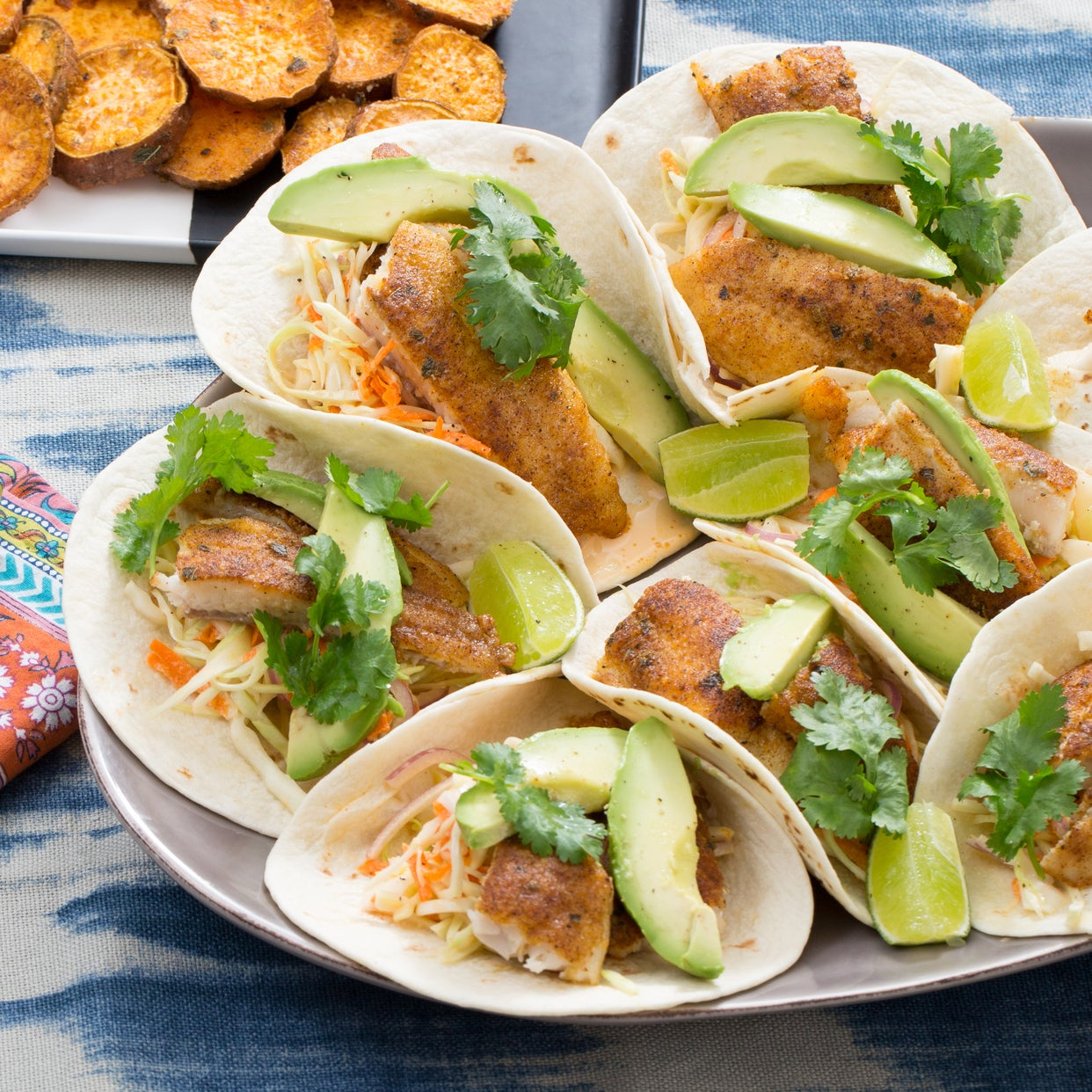 Catfish Tacos & Coleslaw with Spicy Roasted Sweet Potatoes