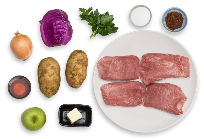 Seared Steaks & Mashed Potatoes with Braised Red Cabbage & Apples ingredients