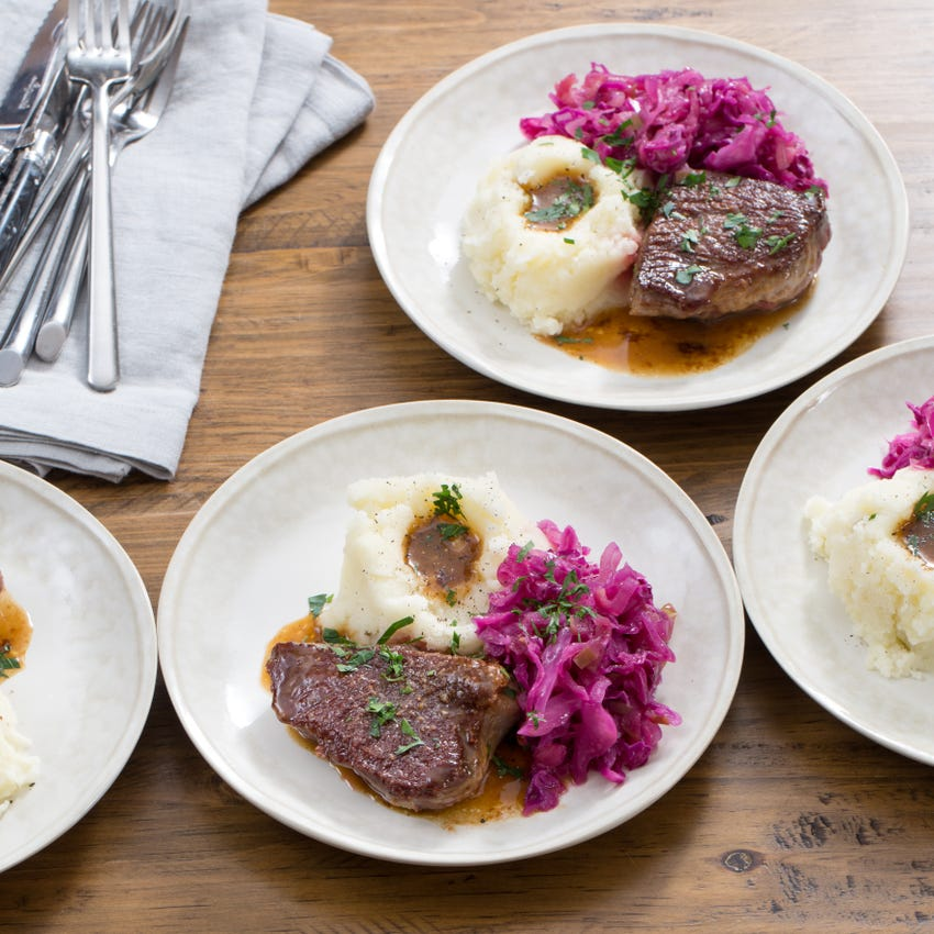 Seared Steaks & Mashed Potatoes with Braised Red Cabbage & Apples