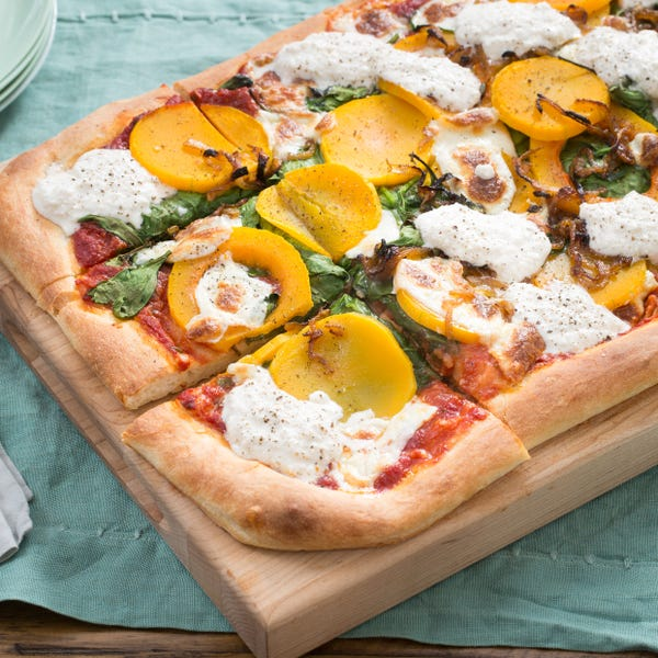 Squash & Spinach Pizza with Caramelized Onion & Honey-Black Pepper Ricotta
