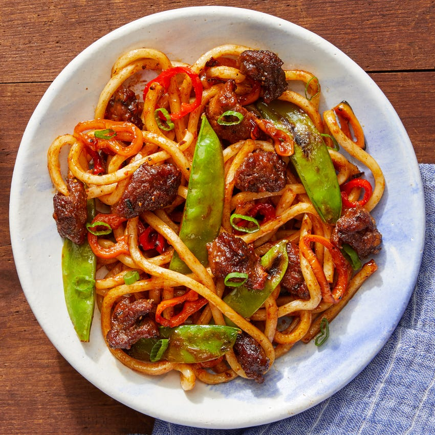 One-Pan Beef & Udon Noodle Stir-Fry with Snow Peas & Sweet Peppers