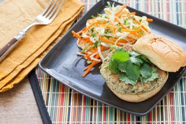 Homemade Veggie Burgers with Miso Cabbage & Carrot Slaw
