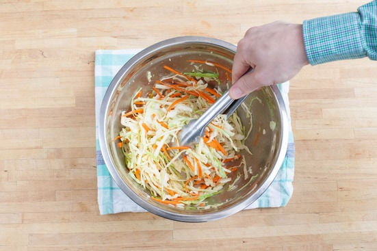 Make the slaw & the sauce: