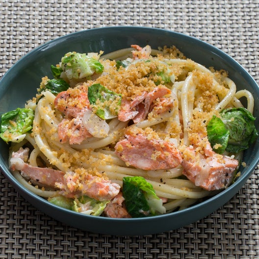 Salmon & Lemon Bucatini with Brussels Sprouts & Toasted Breadcrumbs