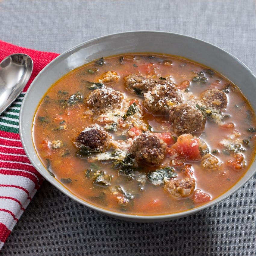 Italian Meatball Soup with Farro & Lacinato Kale