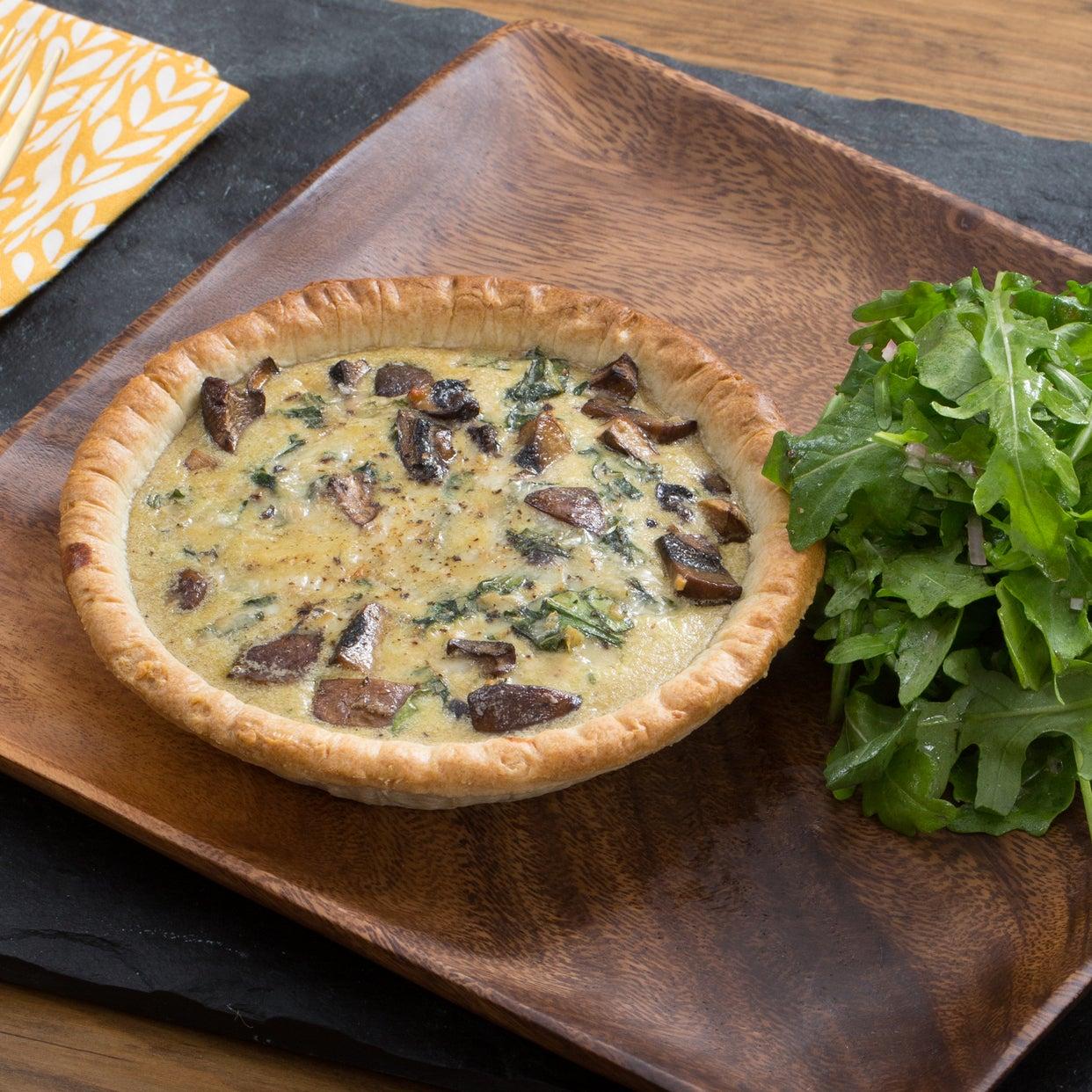 Mushroom & Swiss Chard Quiches with Gruyere Cheese & Arugula Salad
