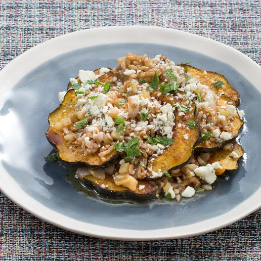 Roasted Acorn Squash & Farro Salad  with Endive, Apple & Browned Butter Dressing
