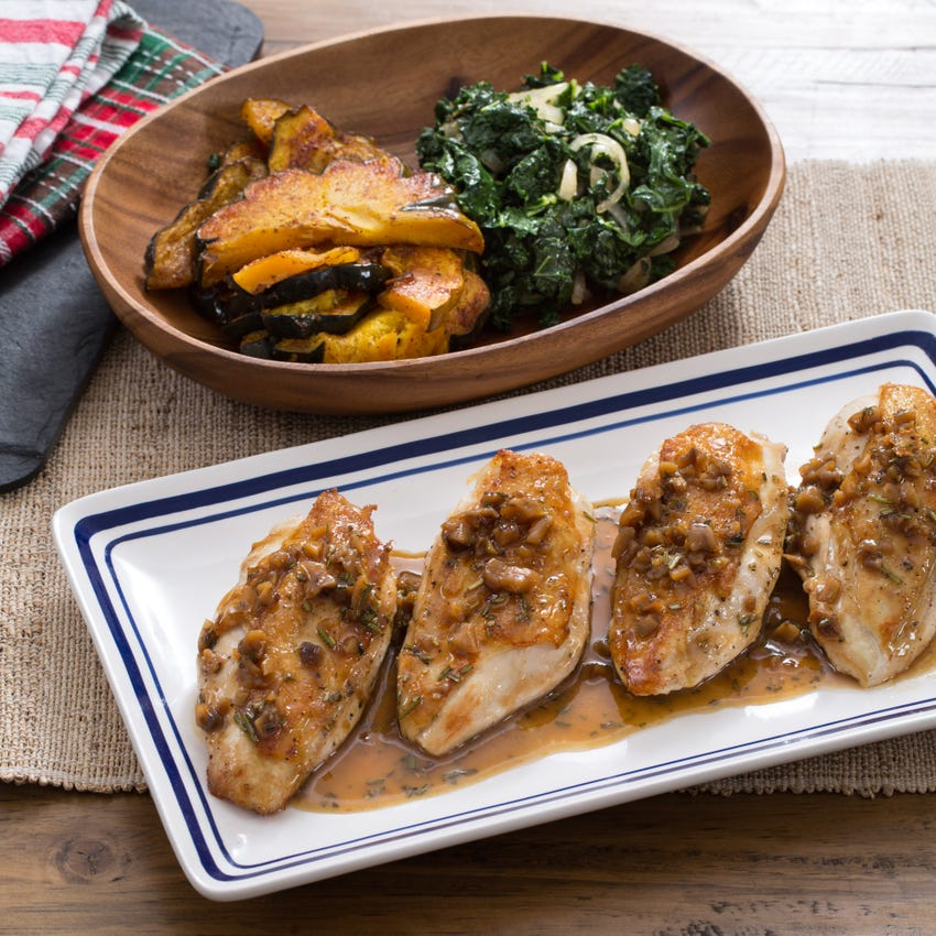 Seared Chicken & Roasted Acorn Squash with Sautéed Kale & Chestnut Pan Sauce