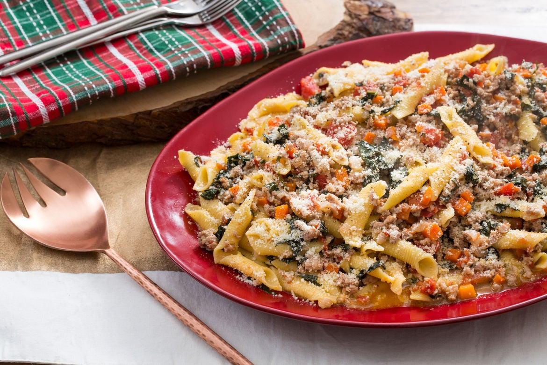 Pork Bolognese with Garganelli Pasta, Lacinato Kale & Sage
