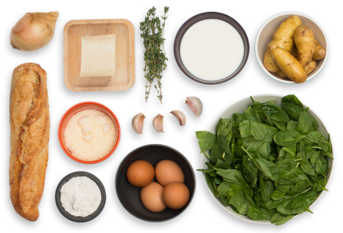 Creamy Fontina & Spinach Baked Eggs with Fingerling Potatoes & Garlic Bread ingredients