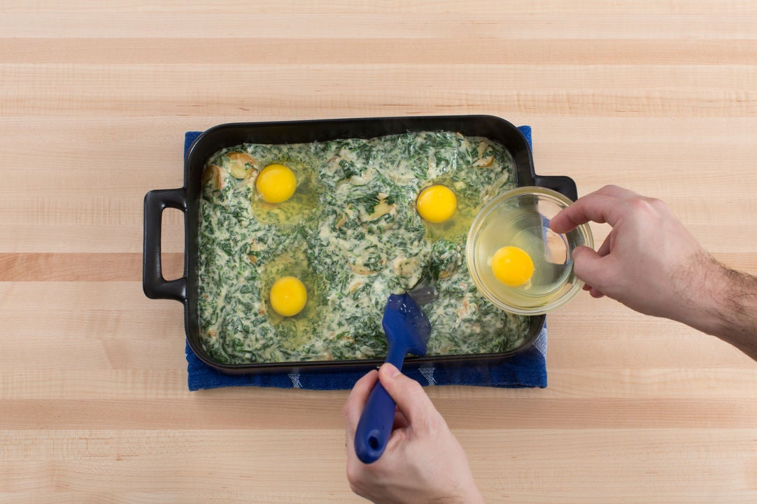 Add the eggs & bake the casserole: